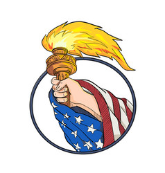 hand holding liberty torch drawing color vector image