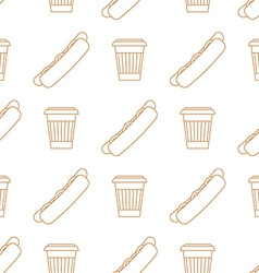 Hot dog coffee hot paper cup outline seamless vector