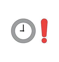 Icon concept clock with exclamation mark vector