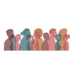International diverse people silhouette portrait vector