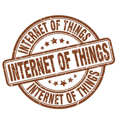 Internet of things brown grunge stamp vector