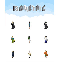 isometric human set of lady pedagogue plumber vector image