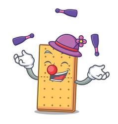 Juggling graham cookies mascot cartoon vector
