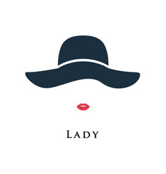 Lady with painted lips in a beautiful hat vector