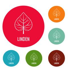 Linden leaf icons circle set vector