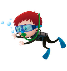 Little boy scuba diving underwater vector