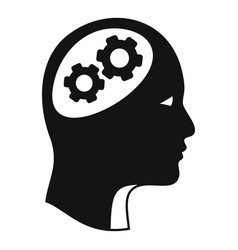 Logic brain icon simple style vector