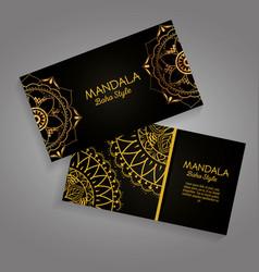 Mandala gold boho style flyers vector