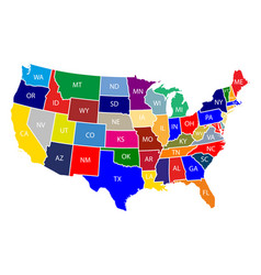 map of the united states of america with colorful vector image