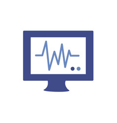 Medical ekg machine cardiology pulse flat icon vector