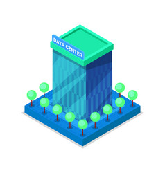 Modern data center building isometric 3d icon vector
