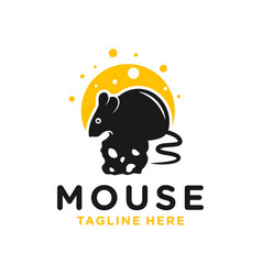mouse eating cheese logo vector image