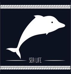 nautical frame with sea life vector image