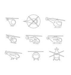 Nice set of line helicopters for your design vector