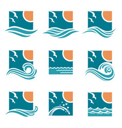ocean emblems set vector image