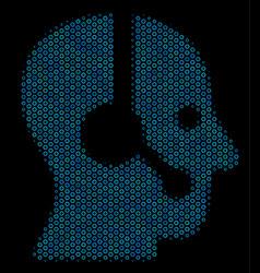 Operator collage icon of halftone bubbles vector