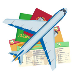 passport tickets documents and airplane set vector image