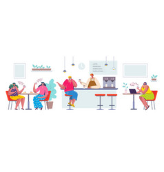 people at cafe cartoon characters sitting vector image