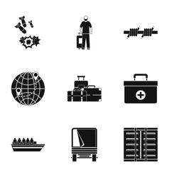 People refugees icons set simple style vector