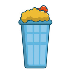 Popcorn in a blue bucket icon cartoon style vector