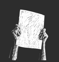 protest hands holding blank banner white sketch vector image