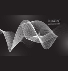Pulsating monochrome background design with wavy vector