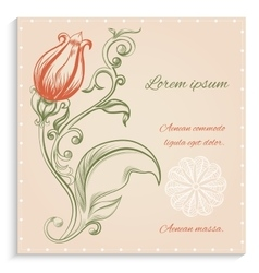 Retro card with red flower vector image