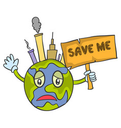 Save world cartoon design vector