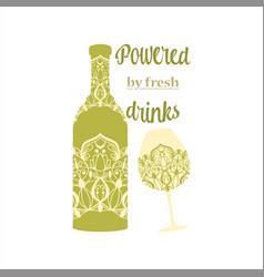 Seamless green olive color design bottle vector