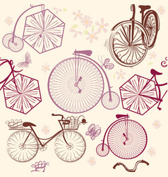 seamless wallpaper pattern with retro bicycles vector image