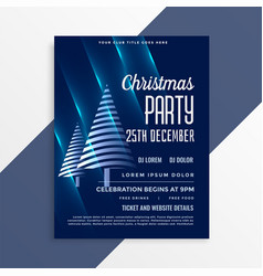 shiny blue christmas party flyer template vector image