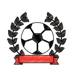 soccer ball emblem sport banner vector image