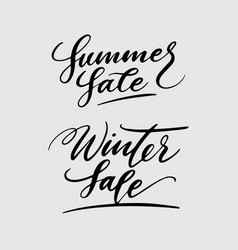 summer and winter sale handwriting calligraphy vector image