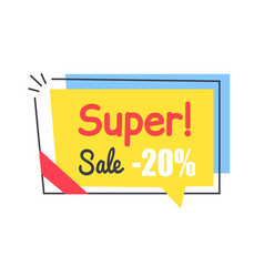super sale promo sticker in square shape frame tag vector image