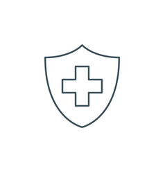 thin line medical cross and shield icon vector image