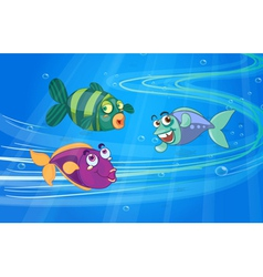 Three fishes with faces vector