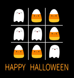 Tic tac toe game with ghost spirit and candy corn vector