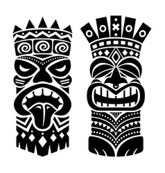 tiki statue pole totem design - traditional vector image