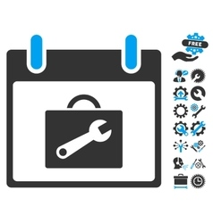 Toolbox Calendar Day Icon With Bonus vector image