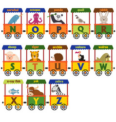 Train alphabet with animals n to z vector