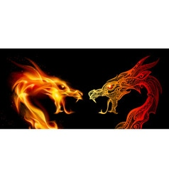 Two dragon heads vector