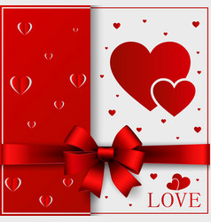 valentines day greeting card ribbon red vector image