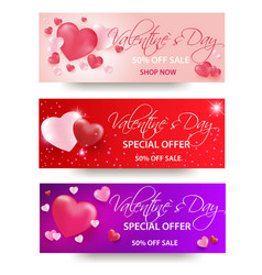 Valentines day sale background with heart shaped vector