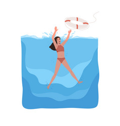 Woman in swimsuit sinking under water catching vector