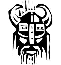 woodcut viking face vector image
