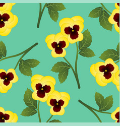 Yellow pansy flower on green mint background vector