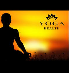 yoga meditation silhouette background vector image