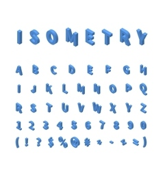 Blue isometric font isolated on white vector image vector image
