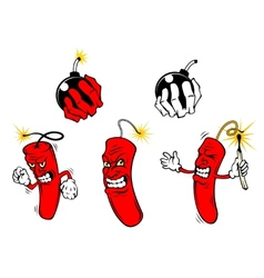 Cartoon danger bombs and dynamite vector image vector image