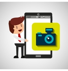 character with mobile app camera photo vector image vector image